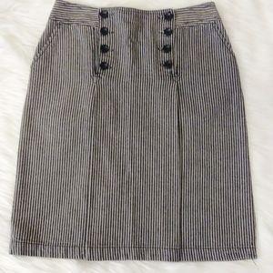 Larry Levine Denim Striped Black Skirt Size 4